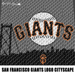 San Francisco Giants MLB Baseball Team Logo and Cityscape crochet graphgan blanket pattern; c2c, cross stitch; graph chart; pdf download; instant download