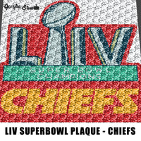 Kansas City Chiefs LIV Superbowl Champions NFL Football Team Logo Plaque crochet graphgan blanket pattern; c2c; single crochet; cross stitch; graph; pdf download; instant download