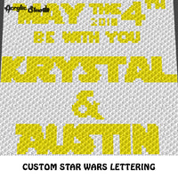 Custom Star Wars Lettering Star Wars 4th Quote crochet graphgan blanket pattern; c2c, cross stitch graph; instant download