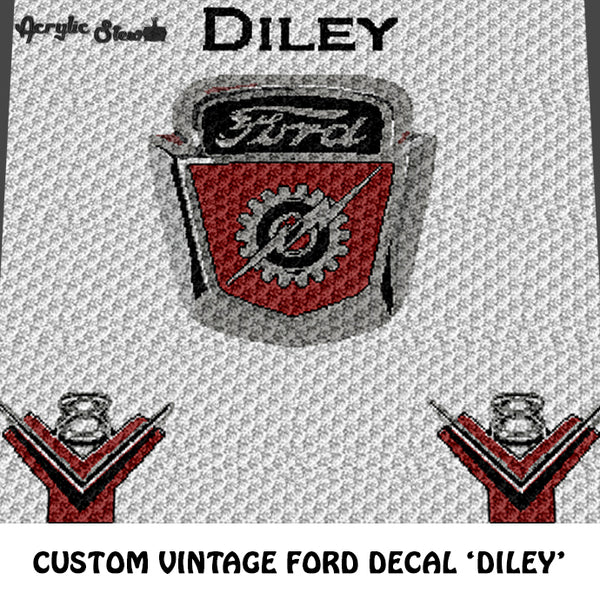 Custom Vintage Ford Motor Decal and V8 Decal crochet graphgan blanket pattern; c2c, cross stitch graph; pdf download; instant download