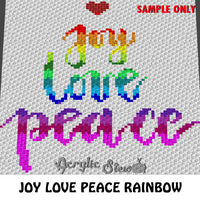 Joy Love Peace Inspirational Quote crochet blanket pattern; c2c, cross stitch graph; instant download