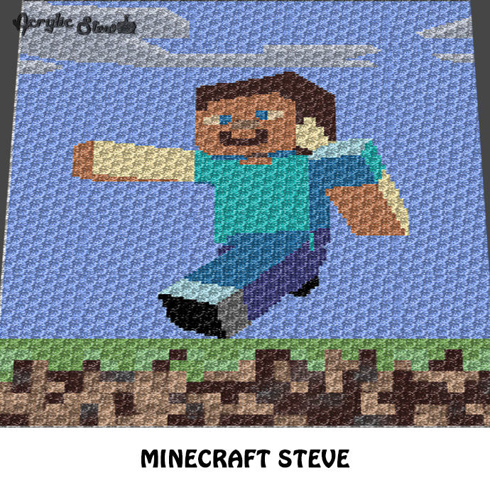 Minecraft Steve Single Pixel Video Game Character And Landscape Croche U2013  Acrylic Stew