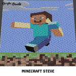 Minecraft Steve Single Pixel Video Game Character and Landscape crochet graphgan blanket pattern; c2c, cross stitch graph; pdf download; instant download