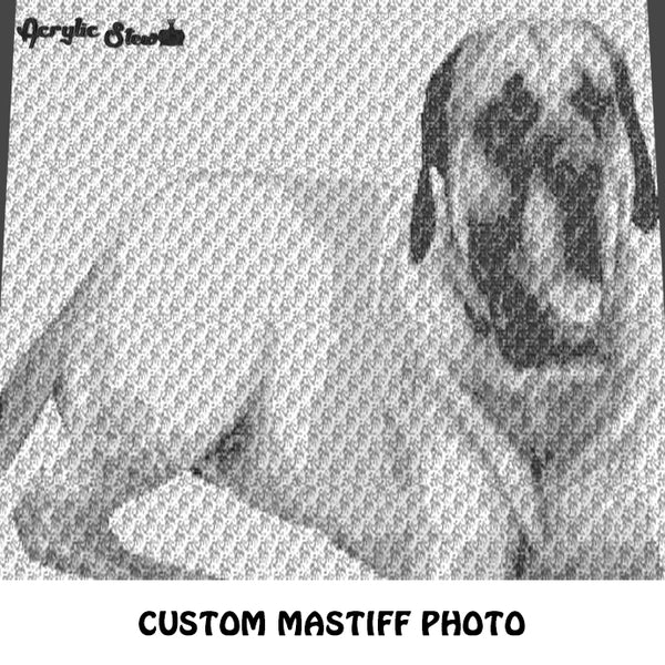 Custom Mastiff Beloved Family Pet Photo crochet graphgan blanket pattern; c2c, cross stitch graph; instant download