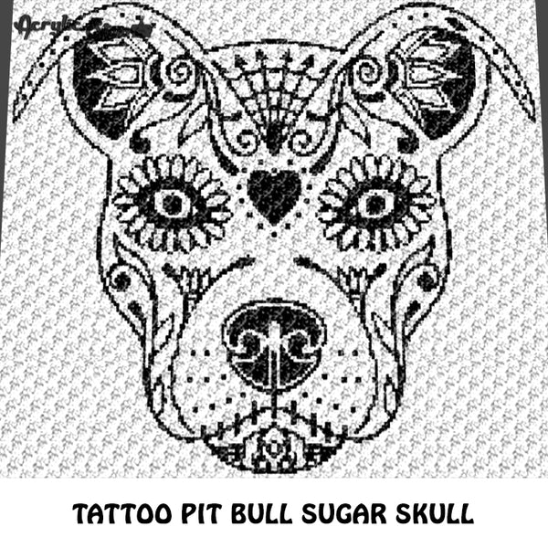 Tattoo Pit Bull Dog Sugar Skull Alpha Art C2C crochet graphgan blanket pattern; afghan; graphgan pattern, cross stitch graph; pdf download; instant download