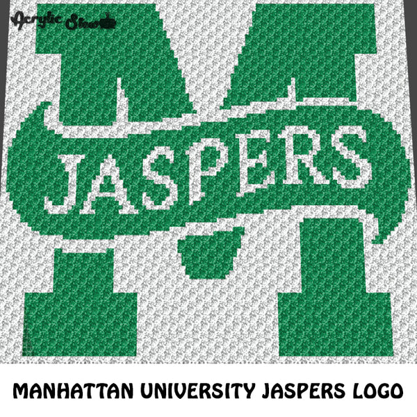 Custom Manhattan University Jaspers College Logo crochet graphgan blanket pattern; c2c, cross stitch graph; instant download