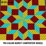 Tri-Color Burst Yellow Maroon Aqua Carpenter Wheel crochet graphgan blanket pattern; c2c, cross stitch graph; pdf download; instant download