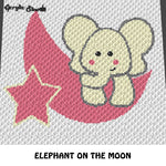 Baby Elephant on the Moon and Star crochet graphgan blanket pattern; c2c, cross stitch graph; pdf download; instant download