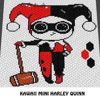 Kawaii Harley Quinn DC Comics Villian and Logo crochet blanket pattern; graphgan pattern, c2c, cross stitch graph; pdf download; instant download
