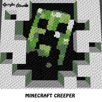Minecraft Creeper Single Pixel Video Game Squares crochet graphgan blanket pattern; graphgan pattern, c2c; single crochet; cross stitch; graph; pdf download; instant download