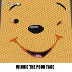 Winnie the Pooh Face Disney Cartoon Character crochet graphgan blanket pattern; c2c, cross stitch graph; graph; pdf download; instant download
