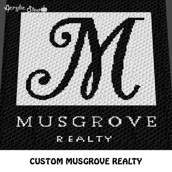 Custom Musgrove Realty Logo and Insignia crochet graphgan blanket pattern; c2c, cross stitch graph; instant download