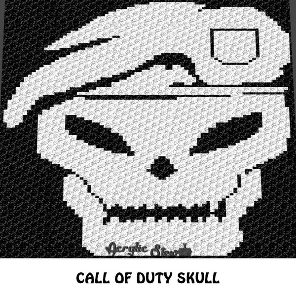 Call of Duty Black Ops Skull Icon crochet blanket pattern; graphgan pattern, c2c, knitting, cross stitch graph; pdf download; instant download