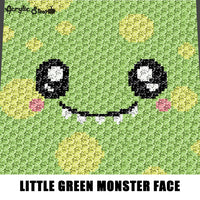 Little Green Polka Dot Monster Face crochet graphgan blanket pattern; c2c, cross stitch; graph; pdf download; instant download