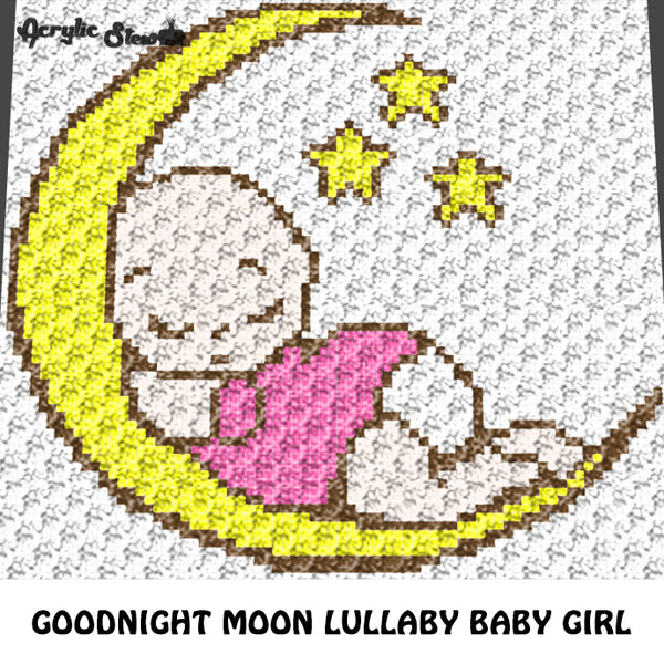 Goodnight Moon and Stars Lullaby Baby Girl crochet graphgan blanket pattern; c2c, knitting, cross stitch graph; pdf download; instant download