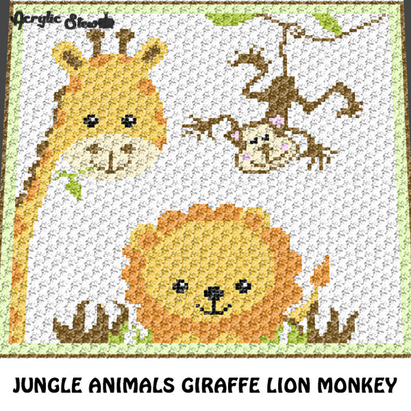 Baby Giraffe Monkey Lion Jungle Animals Crochet Graphgan Blanket