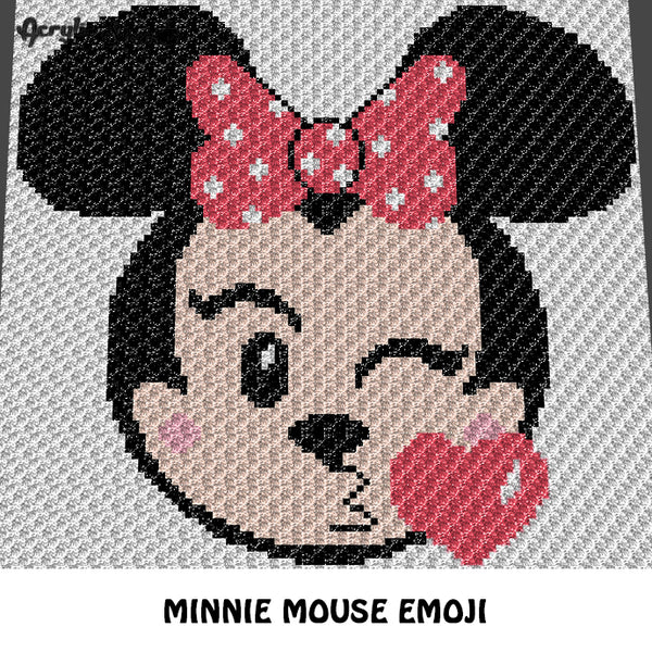 Minnie Mouse Emoji Kissing Disney Cartoon Character crochet graphgan blanket pattern; c2c, cross stitch graph; pdf download; instant download