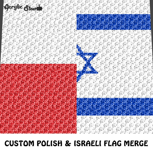 Custom Israeli and Polish Flags Collage Merge crochet graphgan blanket pattern; c2c, cross stitch graph; pdf download; instant download