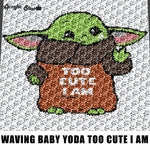 Cute Baby Yoda Star Wars Television Movie Character crochet graphgan blanket pattern; c2c; single crochet; cross stitch; graph; pdf download; instant download