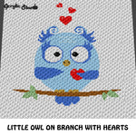 Baby Owl Sitting On Branch with Hearts crochet graphgan blanket pattern; c2c, cross stitch graph; instant download