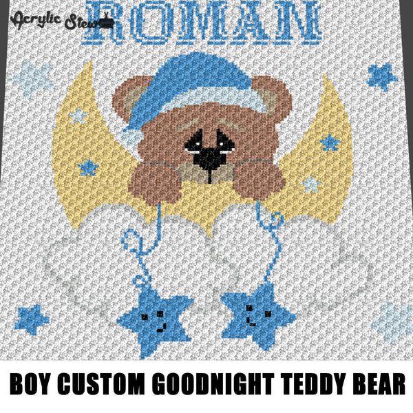 Custom Personalized Baby Boy Blue Goodnight Teddy Bear Moon and Stars crochet graphgan blanket pattern; graphgan pattern, c2c; single crochet; cross stitch; graph; pdf