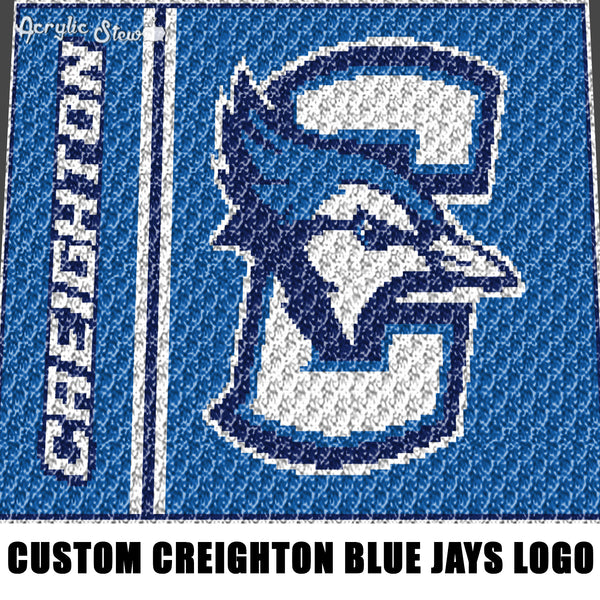 Custom Creighton Blue Jays College Basketball Mascot Logo crochet graphgan blanket pattern; c2c; single crochet; cross stitch; graph; pdf download; instant download