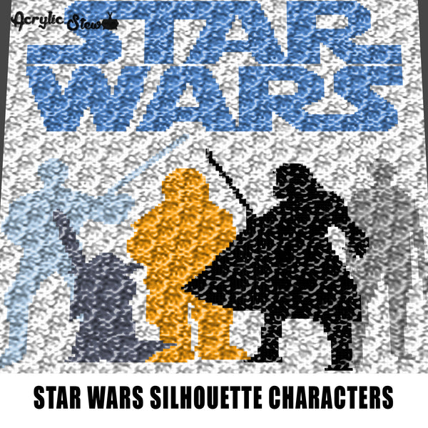Star Wars Luke Skywalker Yoda Chewbacca Darth Vader Han Solo Silhouette Television Cartoon and Movie Characters crochet graphgan blanket pattern; c2c; single crochet; cross stitch; graph; pdf download; instant download