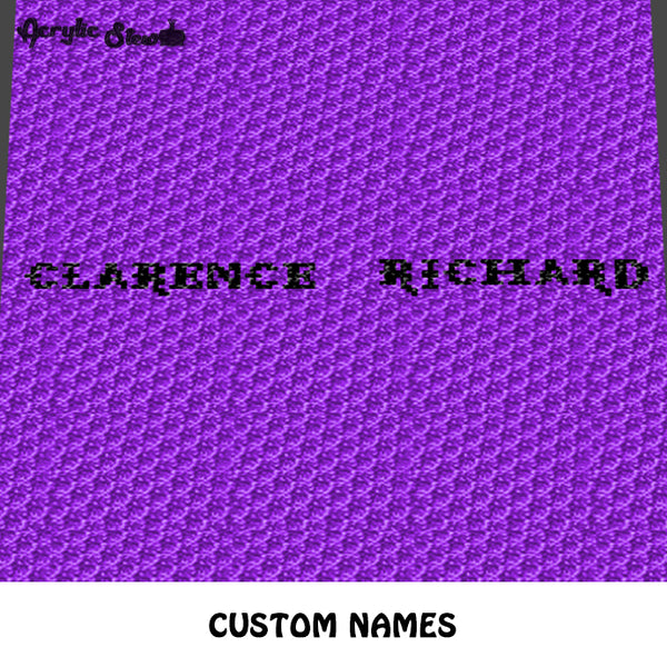 Custom Personalized Names  'Clarence' 'Richard' Monogrammed crochet graphgan blanket pattern; c2c, cross stitch graph; pdf download; instant download
