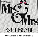 Custom Personalized Mr and Mrs Love Birds with Custom Est Date crochet graphgan blanket pattern; c2c, cross stitch graph; pdf