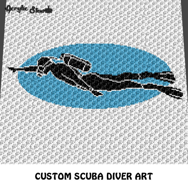 Custom Scuba Diver with Bubbles Art crochet graphgan blanket pattern; c2c, cross stitch graph; pdf download; instant download