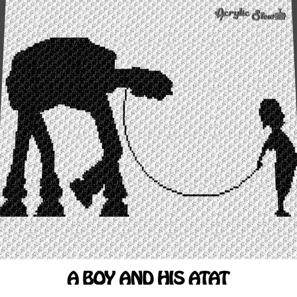 A Boy and His AT-AT Walker Star Wars Movie Themed crochet graphgan blanket pattern; c2c, cross stitch graph; pdf download; instant download