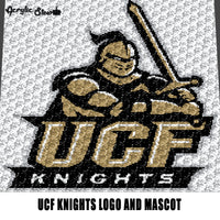 University of Central Florida Knightro UCF Knights  Logo and Mascot College crochet graphgan blanket pattern; graphgan pattern, c2c; single crochet; cross stitch; graph; pdf download; instant download