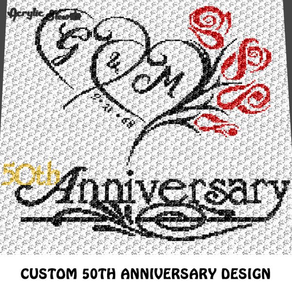 Custom 50th Wedding Anniversary Roses Design with Initials and Custom Date crochet graphgan blanket pattern; c2c, cross stitch graph; pdf download; instant download