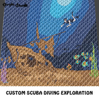 Custom Scuba Diver Exploration Nautical Themed Underwater crochet graphgan blanket pattern; c2c, cross stitch graph; pdf download; instant download
