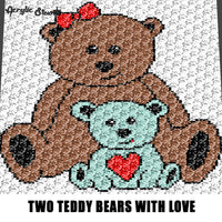 Big Teddy Bear and Little Teddy Bear With Love Heart crochet graphgan blanket pattern; graphgan pattern, c2c, knitting, cross stitch graph; graph chart; pdf download; instant download