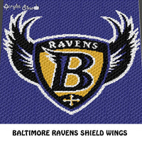 Baltimore Ravens NFL Football Team Shield and Wing Logo Design crochet graphgan blanket pattern; c2c, cross stitch graph; pdf download; instant download