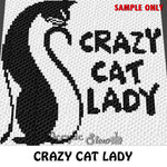 Crazy Cat Lady Quote crochet blanket pattern; c2c, cross stitch graph; instant download