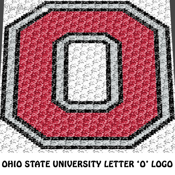 Ohio State University OSU Buckeyes Letter O Logo crochet graphgan blanket pattern; c2c, cross stitch graph; pdf download; instant download