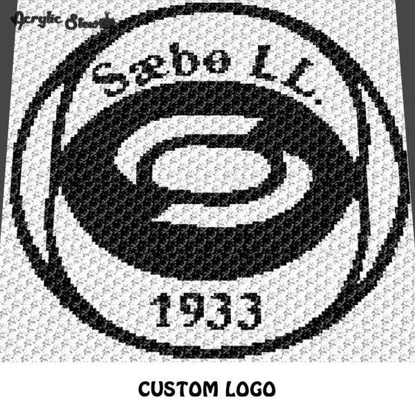 Custom Logo Black and White Alpha Art crochet graphgan blanket pattern; c2c, cross stitch graph; pdf download; instant download
