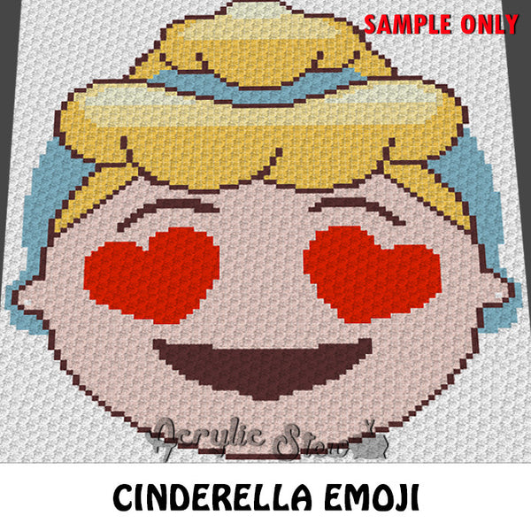 Cinderella Emoji Disney Princess crochet blanket pattern; c2c, cross stitch graph; instant download
