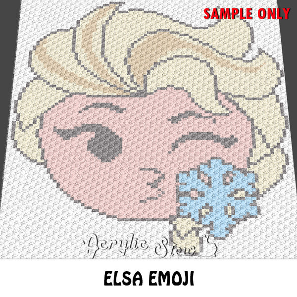 Elsa Emoji Frozen Disney Princess crochet blanket pattern; c2c, cross stitch graph; instant download