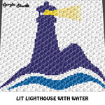 Lit Lighthouse with Water In Color Nautical crochet graphgan blanket pattern; c2c, cross stitch graph; graph; pdf download; instant download
