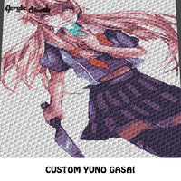 Custom Yuno Gasai Future Diary Anime Character crochet graphgan blanket pattern; c2c, cross stitch graph; instant download