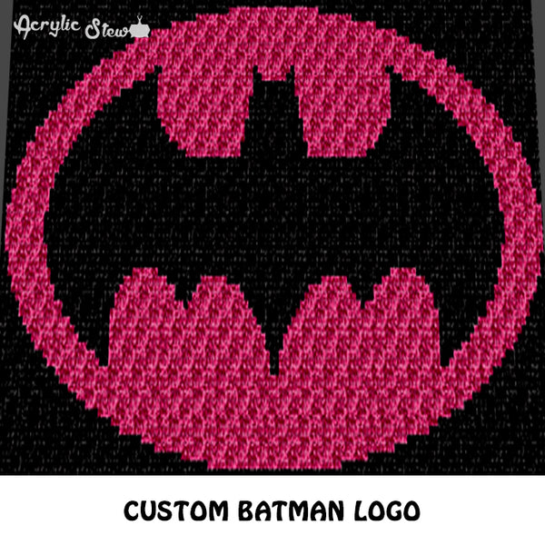 Custom Batman Logo DC Comics TV and Movie Character crochet graphgan blanket pattern; c2c, cross stitch graph; instant download