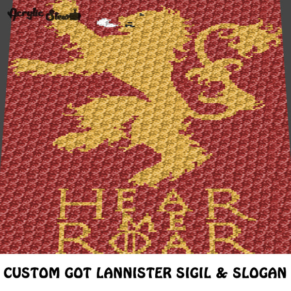 Custom Game of Thrones House Lannister Sigil and Slogan Television Show crochet graphgan blanket pattern; c2c, cross stitch graph; pdf download; instant download