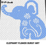 Elephant Flower Burst Art crochet graphgan blanket pattern; c2c, cross stitch graph; pdf download; instant download