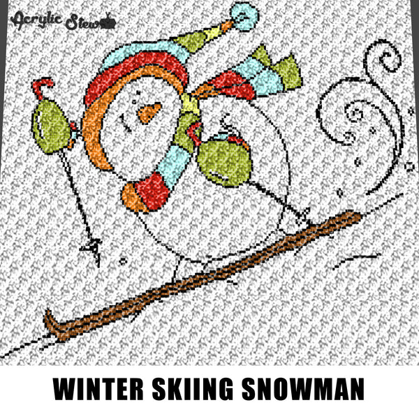 Skiing Snowman Winter Wonderland Themed Snow Art crochet graphgan blanket pattern; c2c, cross stitch graph; pdf download; instant download