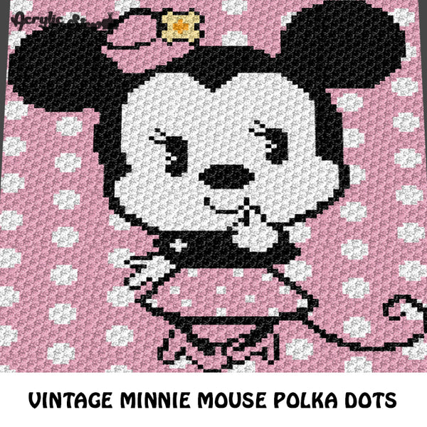 Vintage Minnie Mouse Disney Cartoon Character Flower Hat Polka Dot crochet graphgan blanket pattern; graphgan pattern, c2c, cross stitch graph; pdf download; instant download