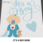 It's A Boy Baby Typography and Teddy Bear Baby Shower crochet graphgan blanket pattern; c2c, cross stitch graph; pdf download; instant download