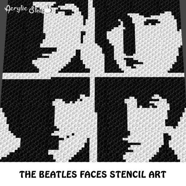 The Beatles Faces Celebrity Musician British Boy Band Stencil Art Photographs crochet graphgan blanket pattern; c2c, cross stitch graph; pdf download; instant download